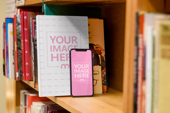 Book and iPhone Standing on Library Shelf Mockup preview image