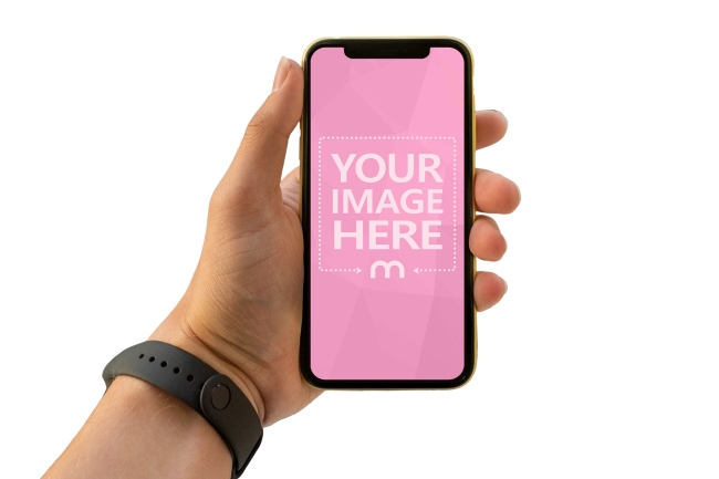 Man Holding iPhone XS in Hand Mockup