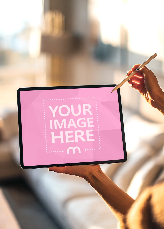 Woman Using iPad Pro with Apple Pencil Mockup preview image