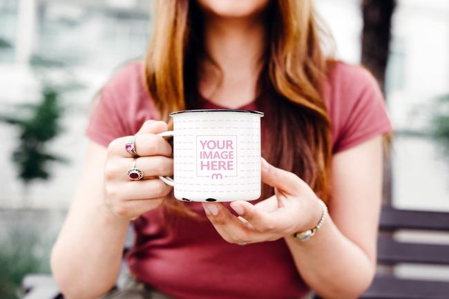 Woman Holding Metal Coffee Mug Mockup preview image