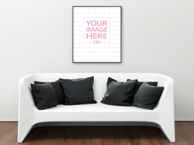Portrait Canvas Frame on Living Room Wall Mockup preview image