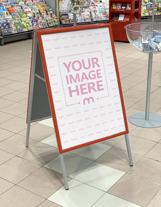 Ad Stand at Supermarket Mockup Template preview image