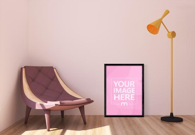 Black Poster Frame on Living Room Mockup Template preview image