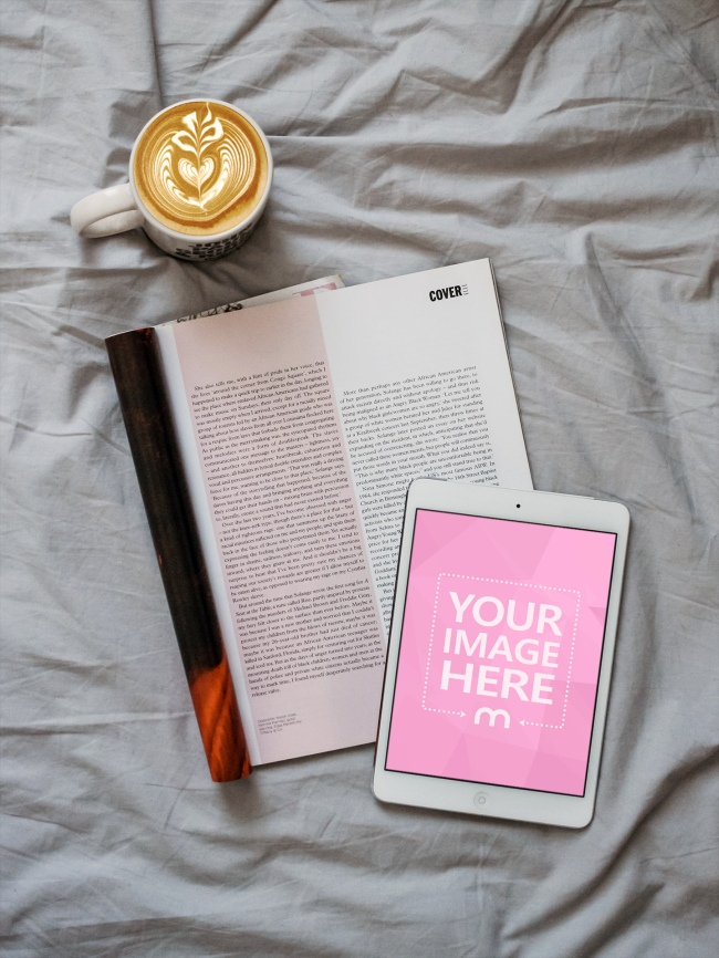 White iPad Lying on Bed Mockup Generator preview image
