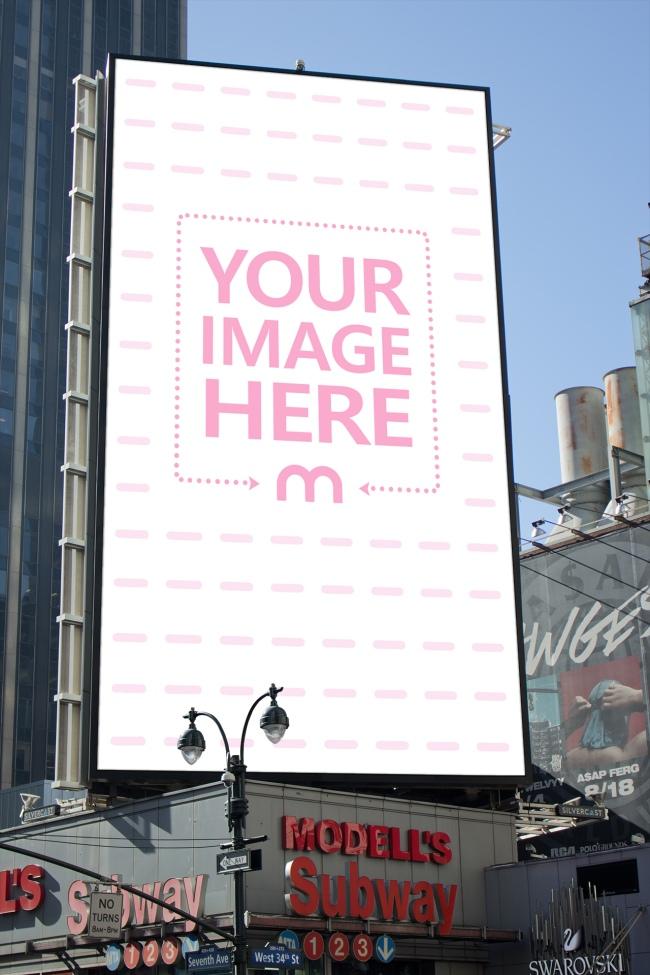 Tall Billboard on Busy Street Mockup Generator