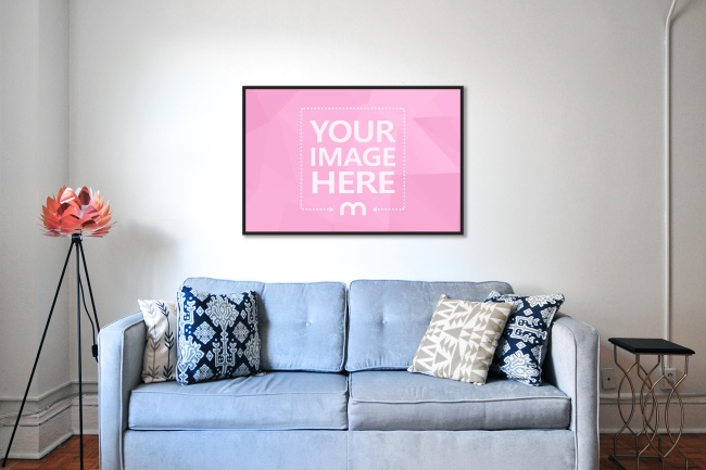 Poster on Living Room Wall Mockup preview image