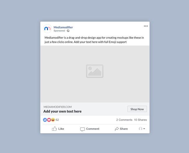 Facebook Sponsored Post Mockup Text Version Mediamodifier