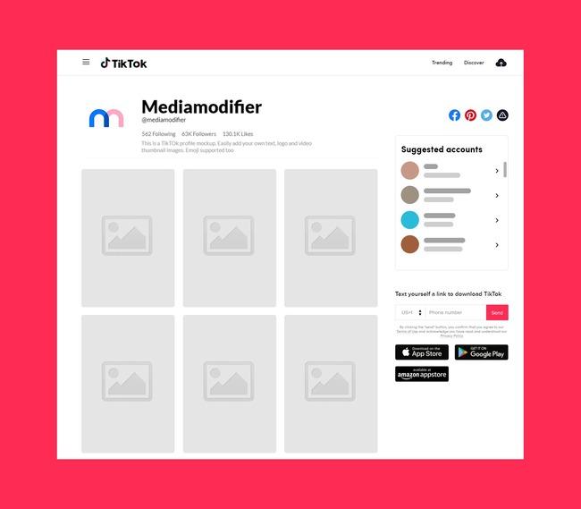 TikTok Profile Mockup (Desktop) preview image