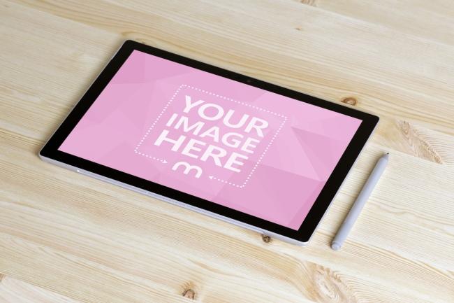 Surface Pro Tablet on Desk Mockup preview image