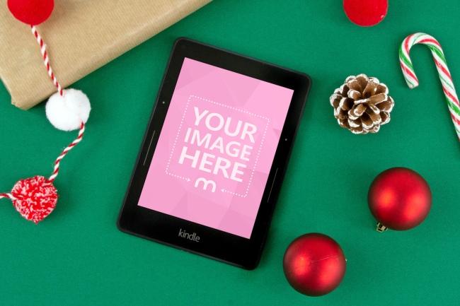 Kindle Device on Christmas Background Mockup