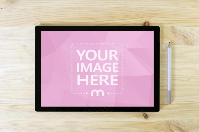 Surface Pro 6 Tablet on Desk Mockup