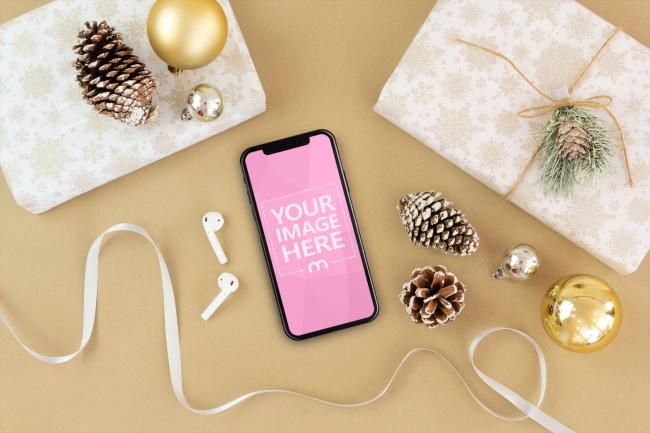 iPhone X and Christmas Presents Mockup