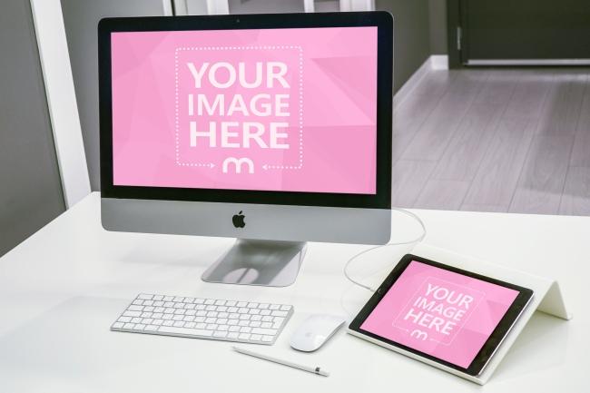 iMac and iPad on Desk Mockup