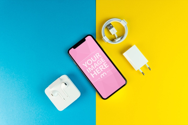 iPhone X on Colorful Background Mockup preview image