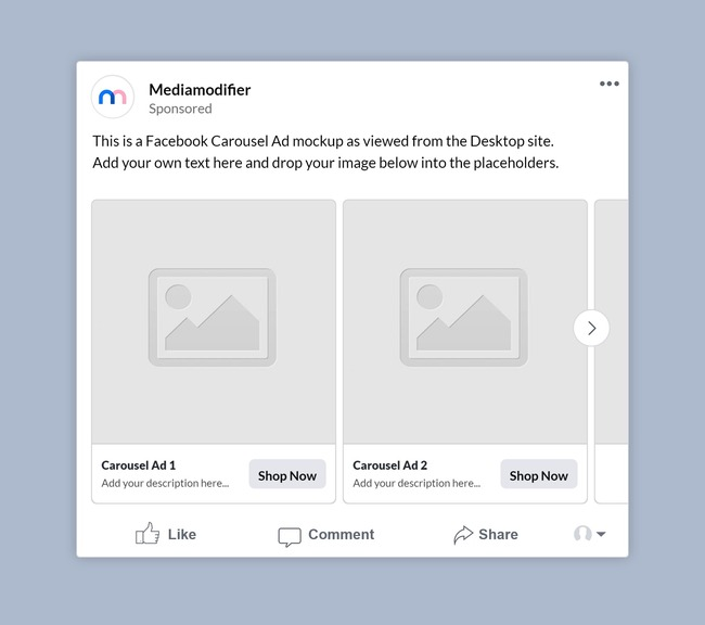 Facebook Carousel Ad Mockup preview image