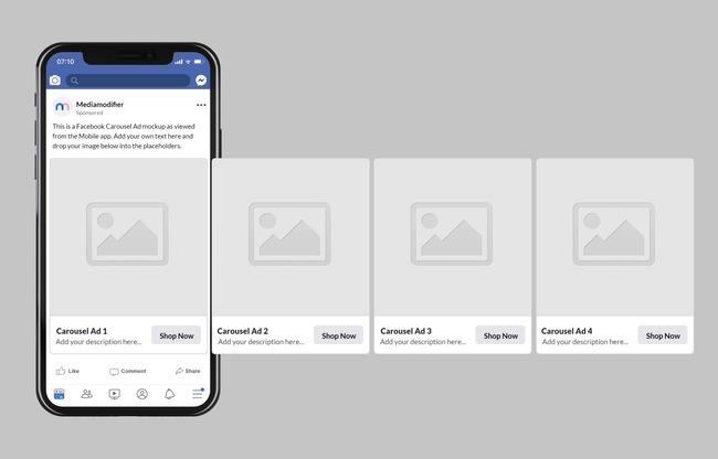Facebook Mobile Carousel Ad Mockup Generator preview image