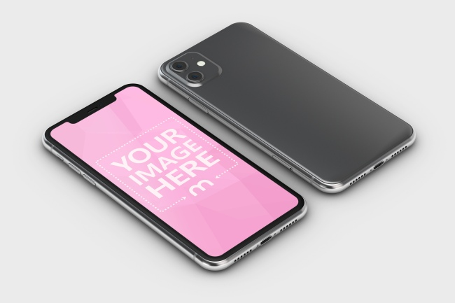 iPhone 11 Lying on Surface Mockup preview image