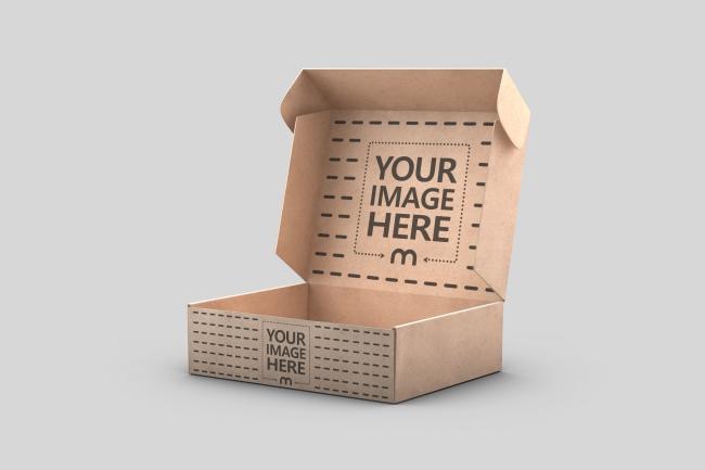 3D Cardboard Mailer Box Mockup