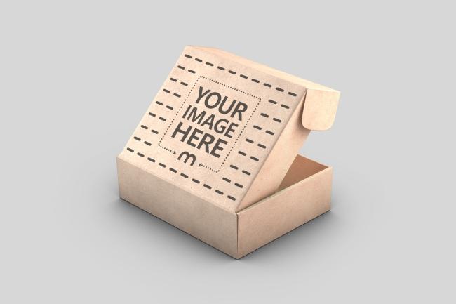 Cardboard Box Lid Open Mockup