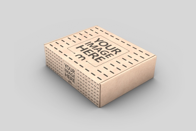 Cardboard Mailing Box Mockup