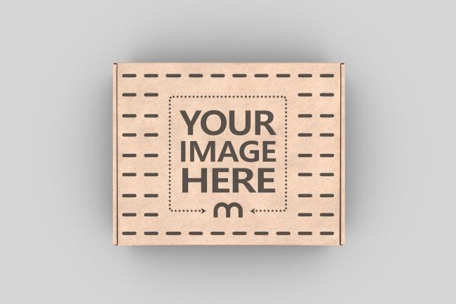Cardboard Box Top View Mockup