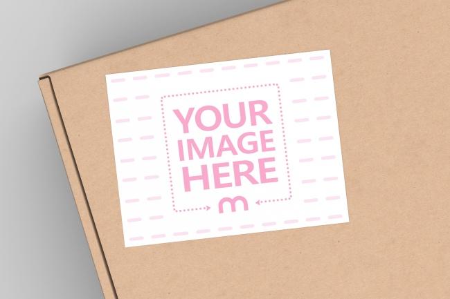 Cardboard Box Top View Label Mockup preview image