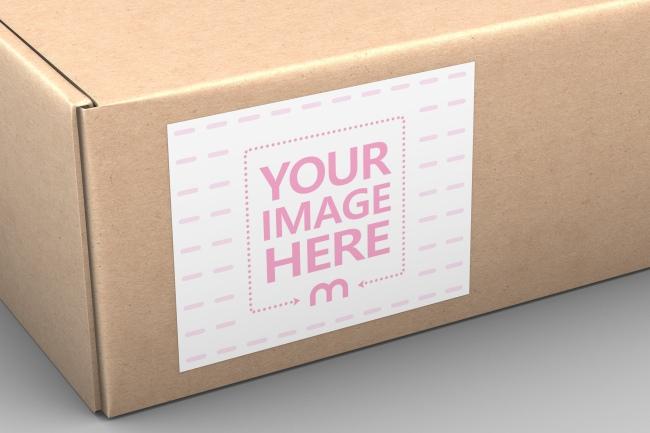Cardboard Box Close-Up Label Mockup