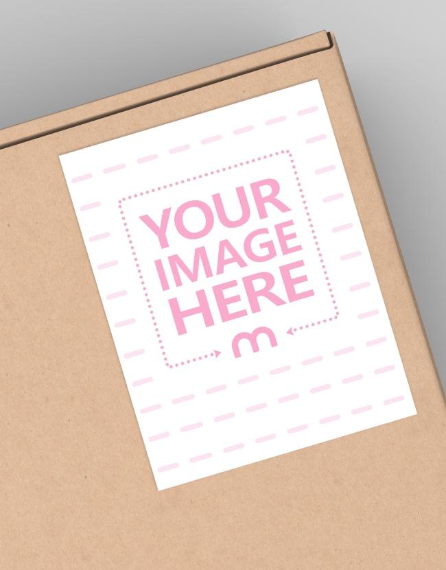 Cardboard Box Portrait Label Mockup