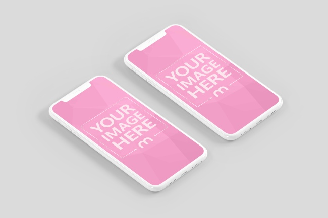 Double Isometric Clay iPhone Mockup preview image