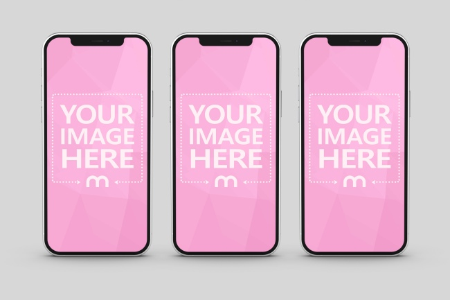 iPhone 12 Triple Screen Mockup preview image