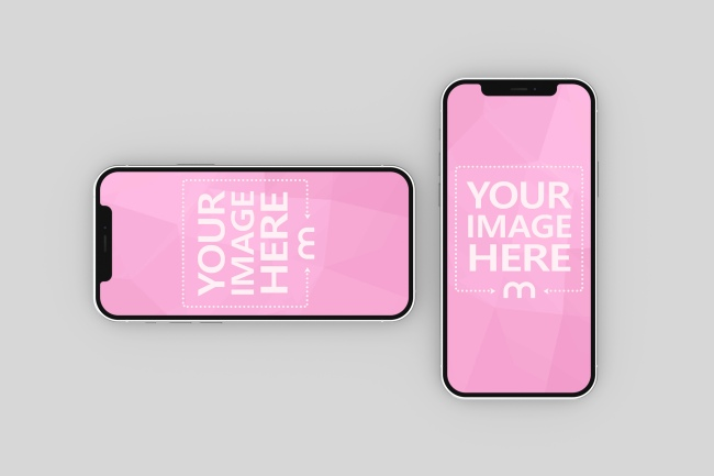 iPhone 12 Double App Screen Mockup preview image