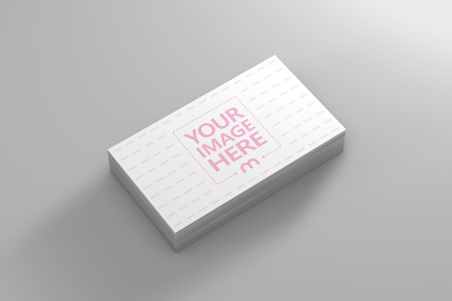 Top View Business Card Stack Mockup preview image