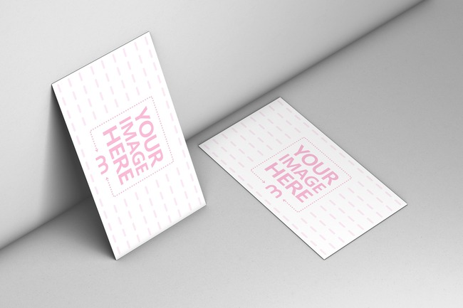 Business Cards Near Wall Mockup preview image
