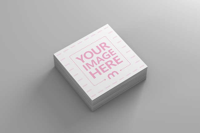 Top View Square Business Card Stack Mockup preview image