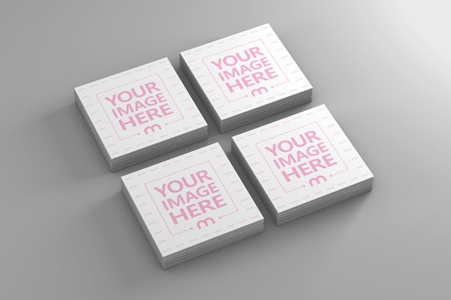 Four Square Business Card Stacks Mockup preview image