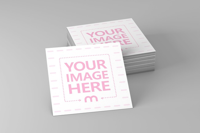 3D Square Business Cards Mockup preview image