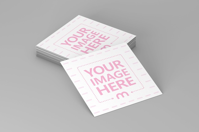 3D Square Business Cards Template preview image