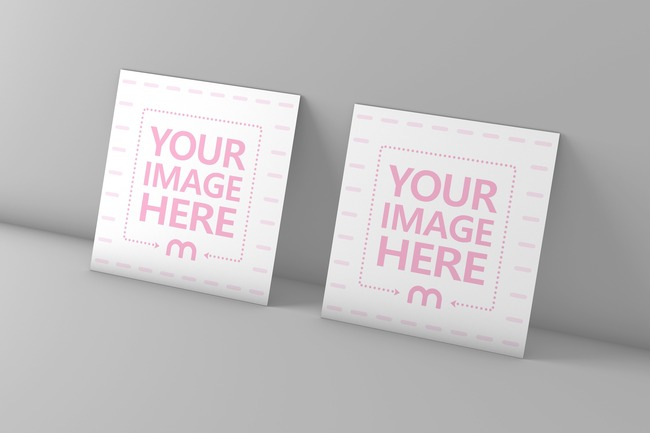 Square Business Cards Near Wall Mockup preview image