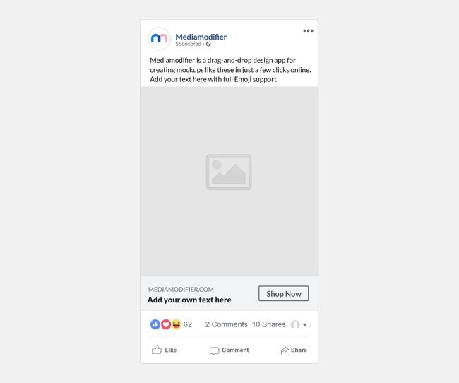 Facebook Sponsored Post Mockup Generator (Mobile Text Version) preview image