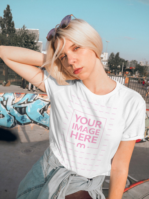 Charming Girl Wearing T-Shirt Mockup preview image