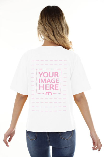 Back Side T-Shirt of Standing Young Woman preview image