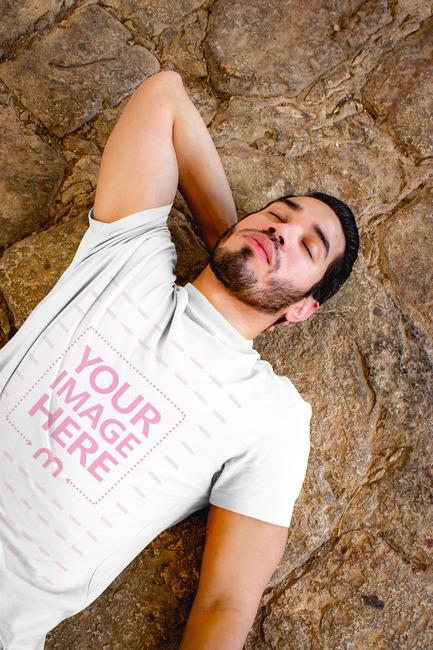 Sleeping Young Man Wearing T-Shirt Mockup preview image