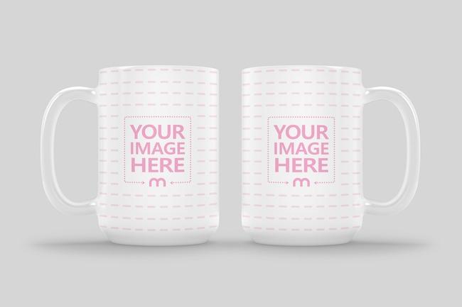 Double 15oz Ceramic Mug Side View Mockup preview image