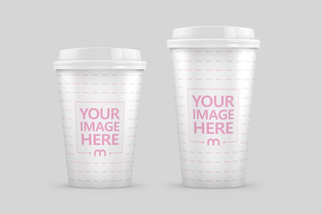 12oz and 16oz Paper Coffee Cups Mockup preview image