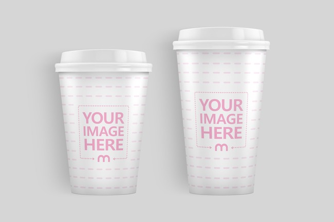 Lying 12oz and 16oz Paper Cups Mockup preview image