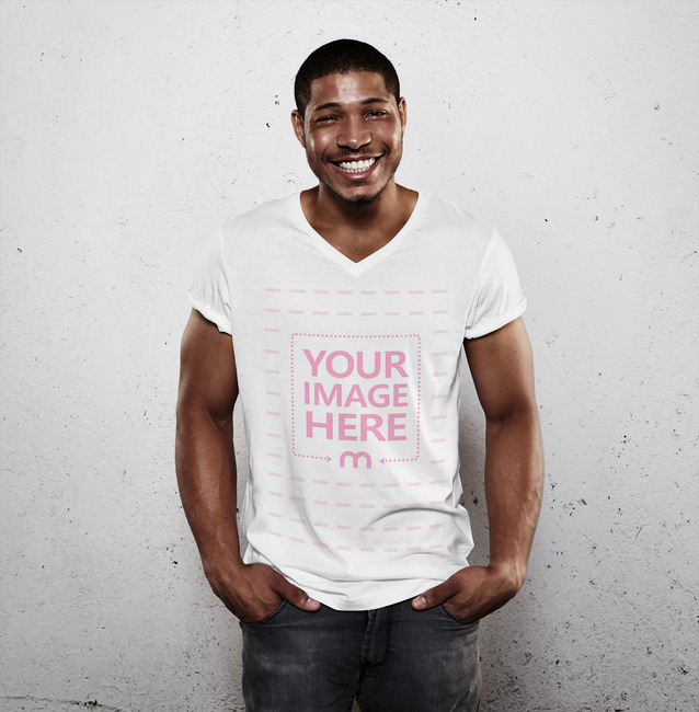 Front View T-Shirt Mockup Featuring Smiling Man preview image