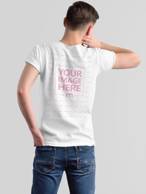 T-Shirt Back Side Mockup with Young Man preview image