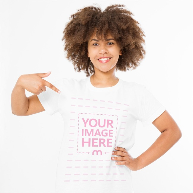 Lovely Young Lady Pointing to Her Shirt preview image