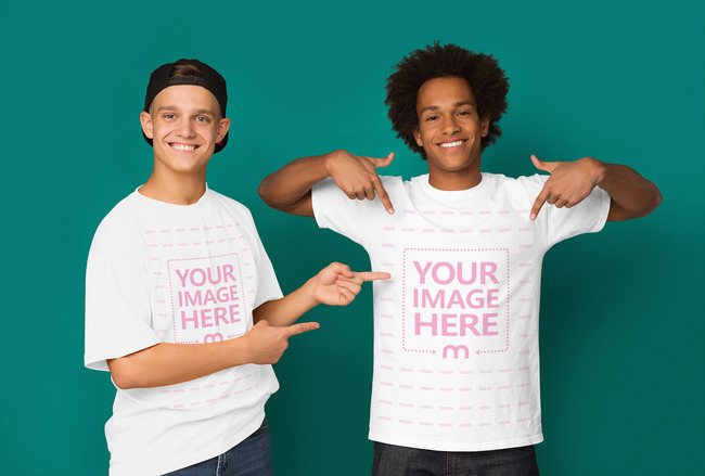 Two Friendly Guys Pointing at the Shirt preview image