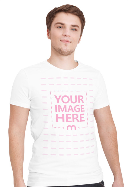 Front View T-Shirt Mockup with Posing Young Man preview image